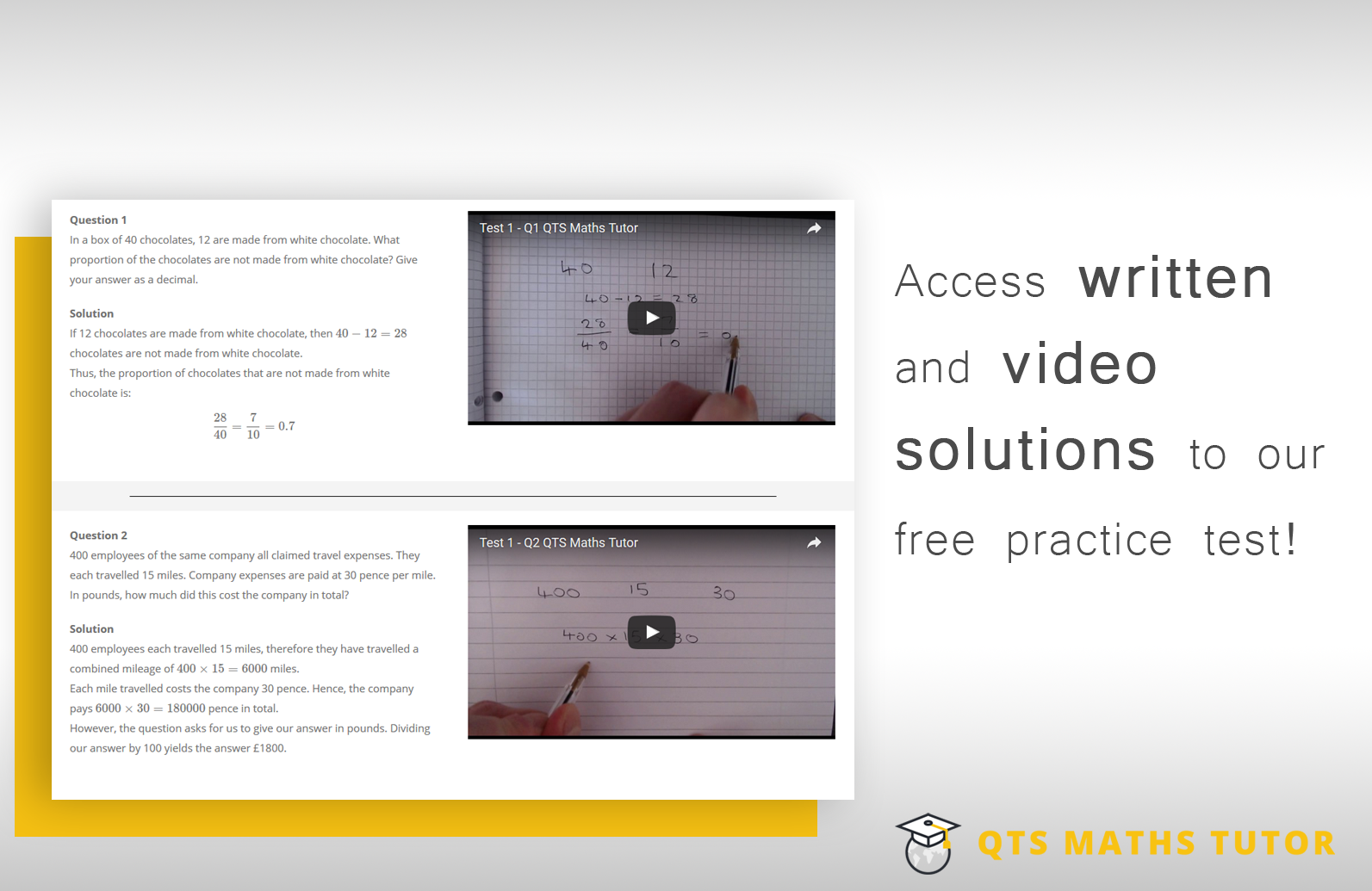 Video solutions to Numeracy skills tests